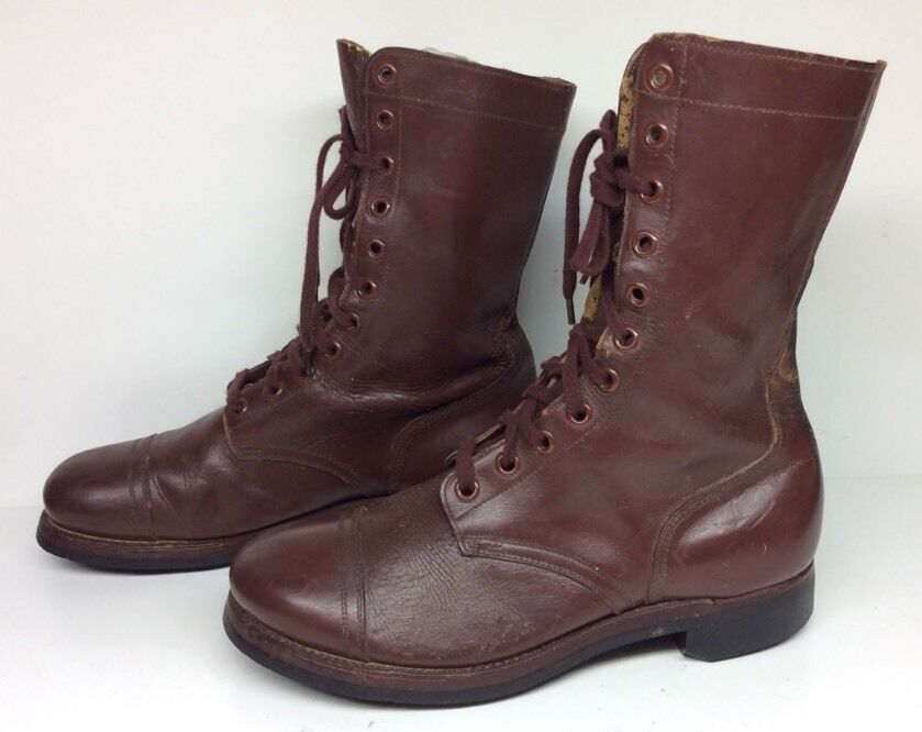 MENS LIGHT THREAD MILITARY WORK LEATHER BROWN BOOTS SIZE 10.5 XW 1953
