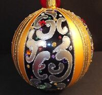 Waterford Holiday Heirlooms 5 Sapphire Scroll Ball 2013 Opulence In Box
