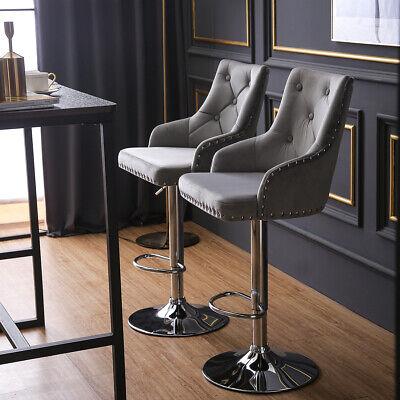 1/2 Breakfast Bar Stools Bar Chairs Velvet&Chrome Steel ...