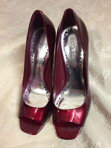 BCB-GIRLS-MAROON-Red-PEEP-TOE-Shoes-Size-8-5-Stiletto-Heel-Open-Toe-Pump-dress
