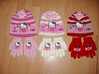 BLACK FRIDAY GIRLS HELLO KITTY HAT AND GLOVES SET PINK CREAM RED 2-4 4-8 YEARS