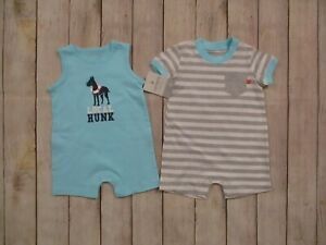 Carter-039-s-Baby-Boys-2-One-Piece-Summer-Rompers-Size-6-Months-Blue-Gray-Striped