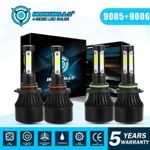 IRONWALLS-LED-Headlight-4-sides-Bulbs-Combo-9005-9006-High-Low-Beam-6500K-White
