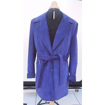 RAIN DROP Damen Wildleder lila Kurzmantel Dreiviertel Jacke Vintage Größe L