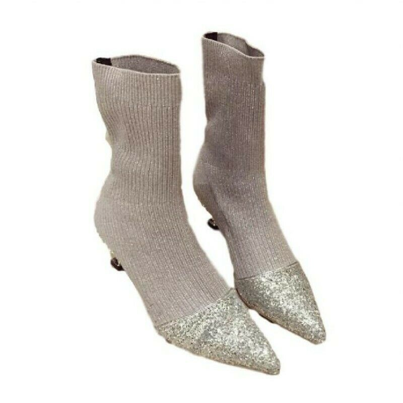 Women Mid Calf Boot Mid Heel Pointed Toe Pump Stretch Rhinestone Fall Shoes D