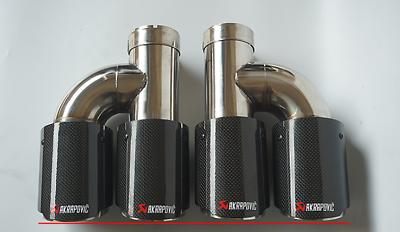 "2Pcs Universal ID:2.5/"" OD:3.5/"" Akrapovic Carbon Fiber Exhaust Tip Dual End Pipes"