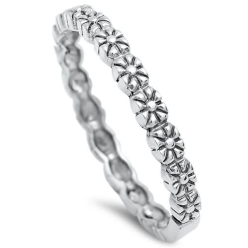 Cute Flower Band .925 Sterling Silver ring Sizes 5-10