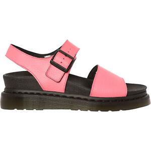 0f5587385dd Image is loading DR-MARTENS-Pink-Leather-ROMI-Platform-Sandals-Size-
