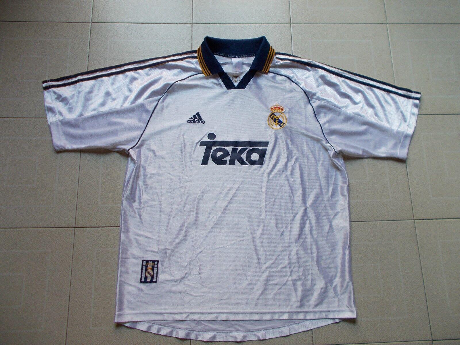 VINTAGE 1998-1999 REAL MADRID Camiseta Futbol Adidas Teka Shirt Trikot Maglia XL