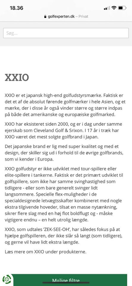 Grafit golfjern, XXIO