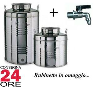 Bidoni Contenitori acciaio inox per Olio Olivari Lt. 50