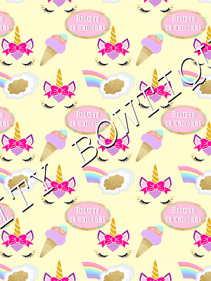 """GORGEOUS /""""UNICORN HORN/"""" PRINTED FABRIC SHEET..HAIR BOWS CRAFTS..EXCLUSIVE"""