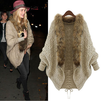 Winter Women Loose Fur Collar Sweater Batwing Sleeve Knit Cardigan Jacket Coat