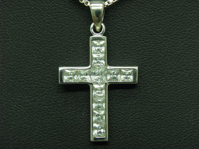 835 argentoo Catena & 925 Sterling argentoo Ciondolo a Croce Croce Croce con Guarnizione in zirconia 60cm 4f7b2a