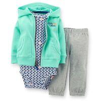 New Carter's 3 Piece Little Mate Cardigan Bodysuit Pant Set NWT 6m 9m 12m 18m