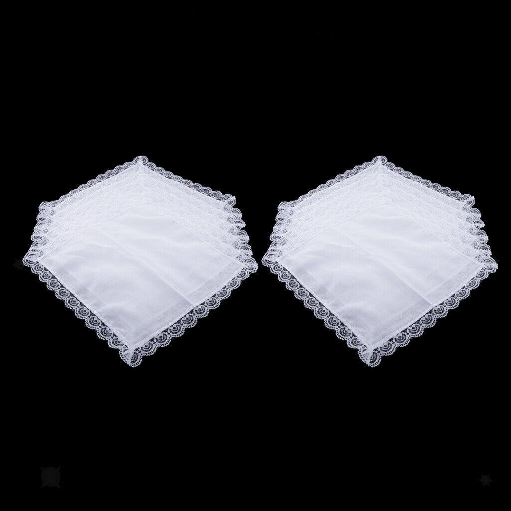 10pcs 100% Cotton White Handkerchiefs DIY Square Lace Hanky Kerchiefs