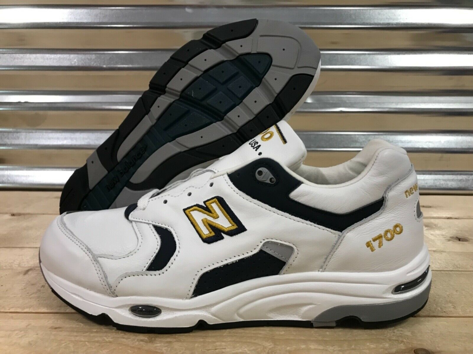 New Balance 1700 Heritage Leather shoes USA White Navy bluee gold SZ ( M1700WN )