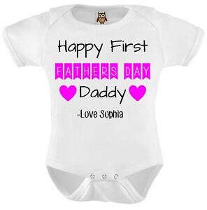 First Fathers Day Baby Grow Personalised Vest Elephants Any Name Bodysuit Pink