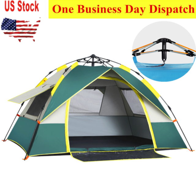 2-4 Man Person Child Outdoor Camping Waterproof Automatic Pop Up Tent Orange UK