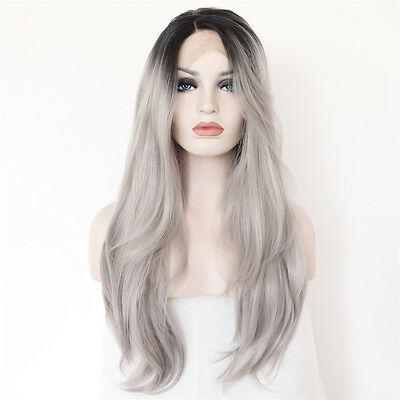 22'' L Lace Part black root ombre grey Glueless Synthetic lace front party wig