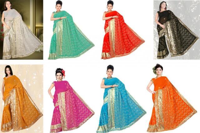 Wedding Women Sequin Embroidery work Saree Shari Sari fabric drape Bellydance SN