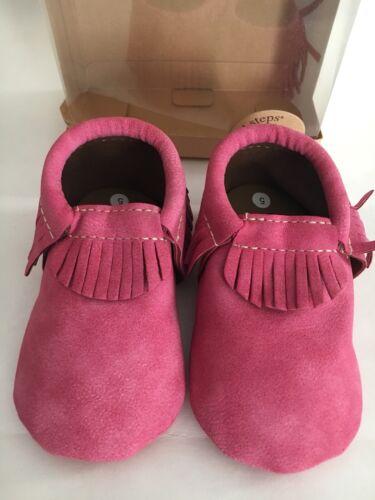 First Step pink Eco leatherette fringe mocassin Baby Girl shoe US Size 1,2,3,4,5
