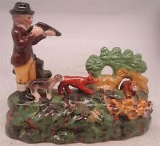 Staffordshire Pottery Figure - Hunting Group - Man with Rifle & Dogs