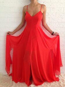 Women-039-s-Red-Boho-Evening-Cocktail-Sleeveless-Summer-Maxi-Long-Dress-Size-8-12-14