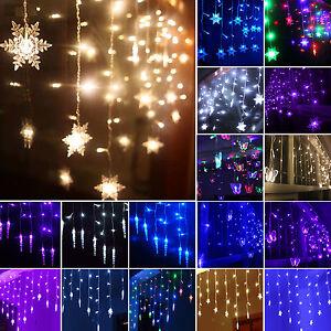 led lichtervorhang weihnachtsbeleuchtung lichterkette innen au en fenster deko ebay. Black Bedroom Furniture Sets. Home Design Ideas