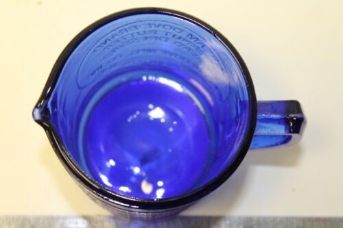 Cobalt Blue Measuring Cup Cream Dove Co NY Retro Depression Glass Binghamton