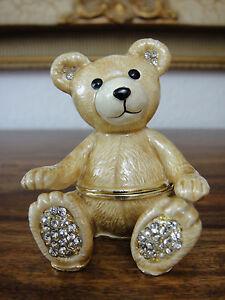 Schmuckdose Teddy Bär Schatulle Ringbox Pillendose Etui Strass Gold Edel Bärchen