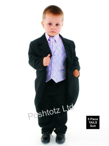 Boys Suits 5pc Black /& Lilac Tails Suit Formal Wedding Pageboy 0-3mths-15yrs