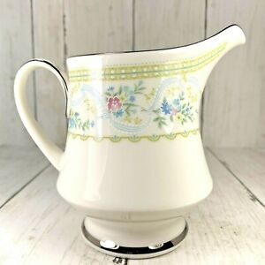Noritake-Delight-Ivory-China-Creamer-Platinum-Trim-Delicate-Florals-Footed