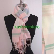 New 100% CASHMERE SCARF MADE IN SCOTLAND PLAID Pink/blue/green SOFT Women's #A01