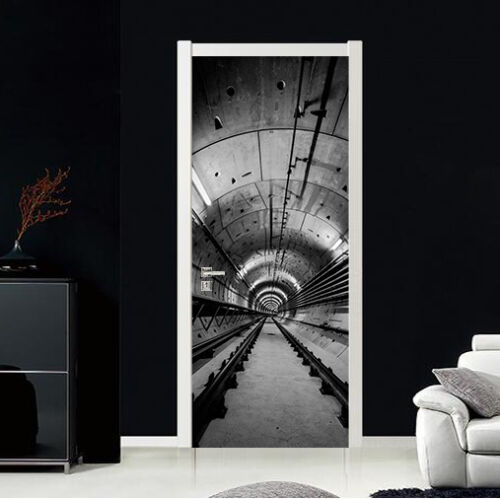 3D Tunnel Track 67 Door Wall Mural Photo Wall Sticker Decal Wall AJ WALLPAPER UK