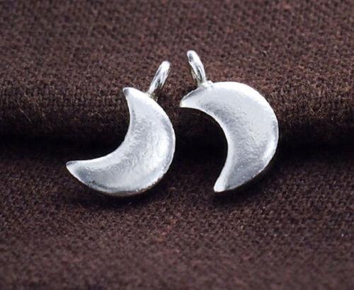 2 de Karen Hill Tribe Argent Croissant De Lune Charms 8x10 mm.