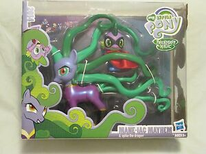 My Little Pony Set 'mane-iac Mayhem & Spike' 2014 Sdcc Perfect Paint Job Nouveau