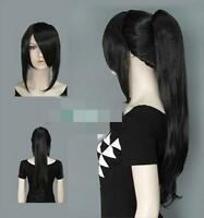 SUPER~~ New Fashion Long Black Hair Wigs With Ponytail /  wigs + free wig cap
