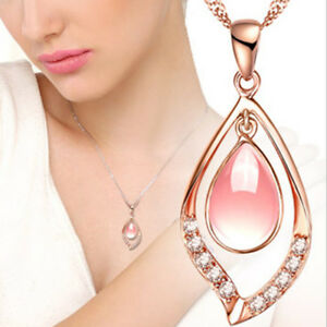 Natural Pink Hibiscus Stones Crystal Water Drop Pendant Rose Gold