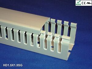 """18 New 1/""""x1.5/""""x2m Wide Finger Open Slot Wiring Cable Raceway Duct Cover,PVC,Gray"""