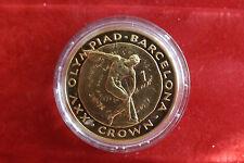 *Gibraltar 1 Crown 1992PP (Vergoldet)*Olympia Barcelona 1992 (3) (BOX2)
