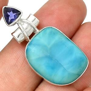 Larimar-amp-Iolite-925-Sterling-Silver-Pendant-Jewelry-AP3528