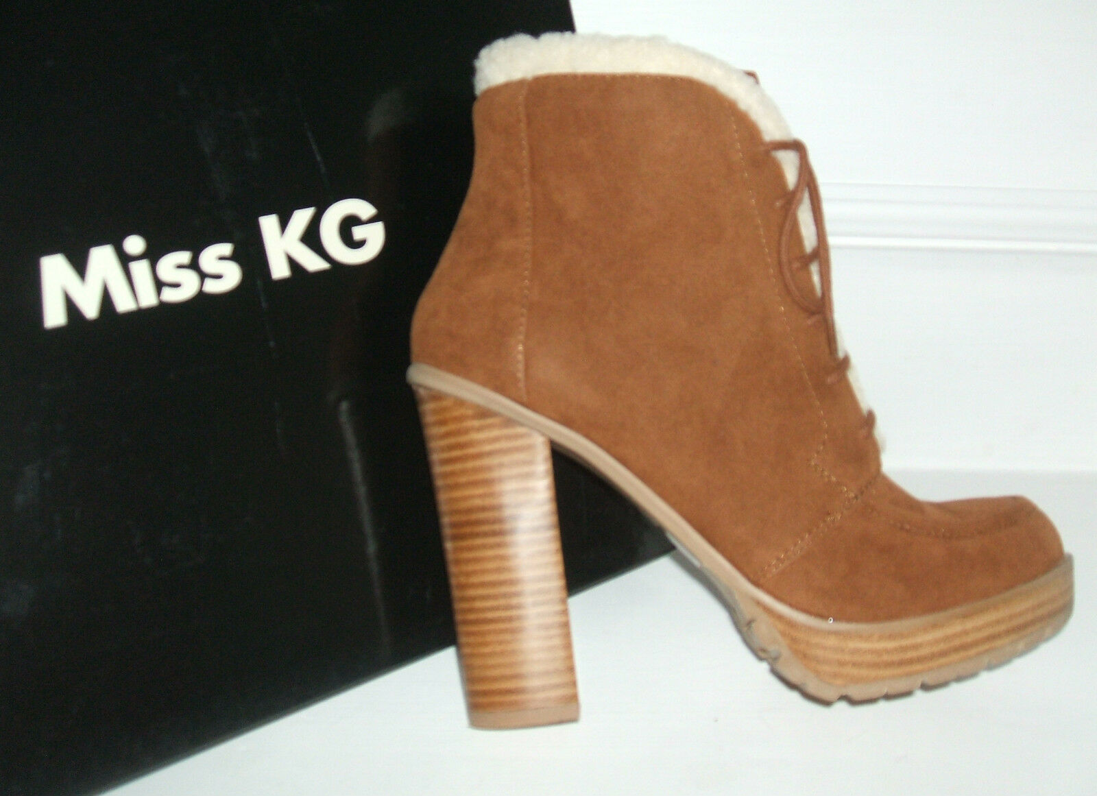 MISS KG SIZE 3 6 7 8 SERENE TAN SUEDE LACE UP HI HEEL MILITARY ANKLE BOOTS