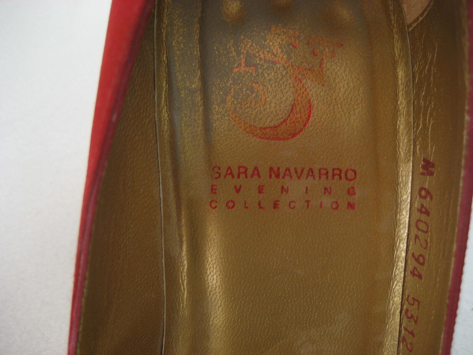 Sara Navarro seidenartig Pumps Gr.37 rot Stoff seidenartig Navarro sehr guter Zustand 3bcb15