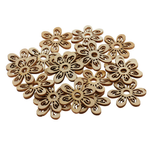 20pcs Unpainted Hollow Flower Shape Unfinished Wooden Slices DIY Crafts 35mm