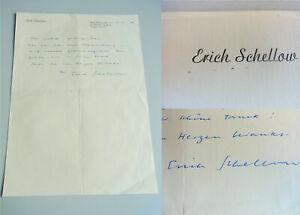 Signierter Brief Berlin 1958 Self-Conscious Theater-schauspieler Erich Schellow 1915-1995