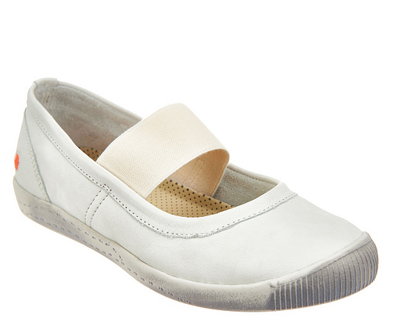 Softinos by FLY London Washed Leather Mary Janes Ion White Womens EU35 US 5 New