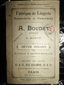 Journal De La Lingerie, 1 Septembre 1912, Boudet, Montrouge, Hiver 1912 1913 5ph1uslo-08003533-274709710