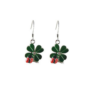 Handmade-Green-Enamel-Plated-Metal-Clover-and-Ladybug-Charm-Earring-Jewelry