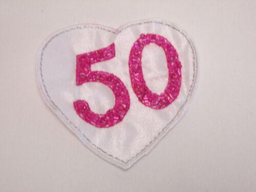 Large Embroidered 50th Birthday Love Heart Scrap Book Card Making Motif #12E34